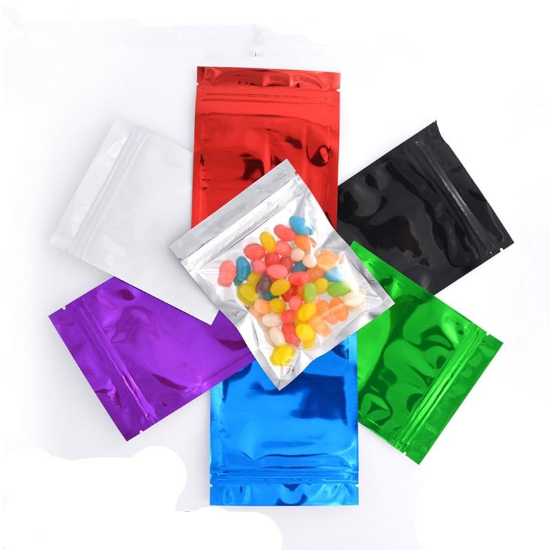 Color purple/Green/ Blue/ Aluminum  Aluminum Foil Clear Ziplock Packing Bag Self Seal Food Packaging Bag Resealable Zip Lock Bag