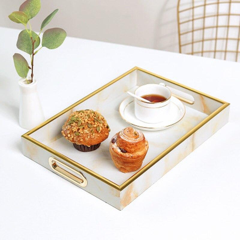 Bandeja de almacenamiento, plato de exhibición de resina con diseño de mármol, plato creativo para aperitivos de postre, plato para pastel de desayuno, bandeja para servir en restaurante
