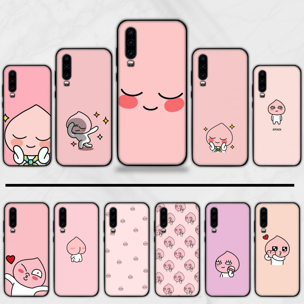 apeach kakao cartoon cute Soft Silicone Black Phone Case Funda For Huawei P9 P10 P20 P30 Lite 2016 2017 2019 plus pro P smart