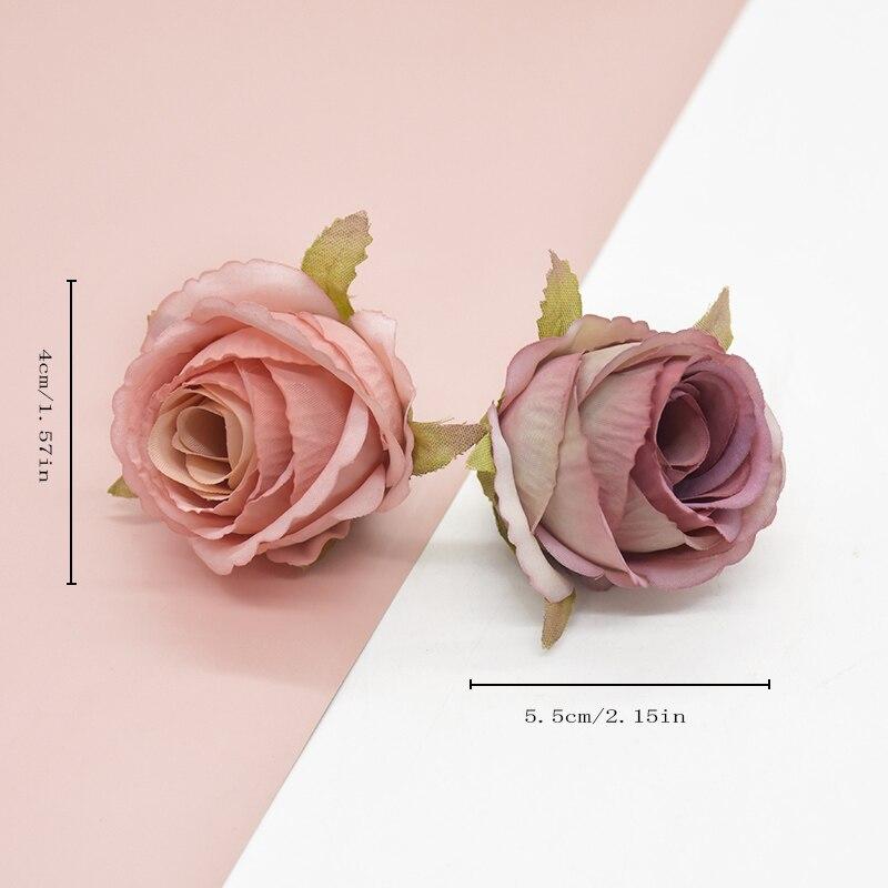 6Pcs Artificial Flowers Silk Rose Heads Candy Box Scrapbooking Headwear Brooch Decorative Flowers Wr