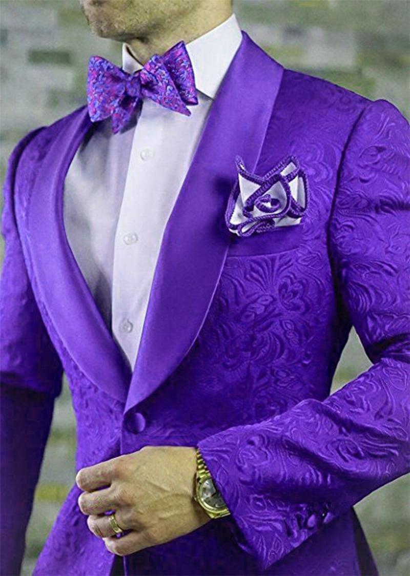 Handsome Embossing Groomsmen Shawl Lapel Groom Tuxedos  Men Suits Wedding/Prom/Dinner Best Blazer(Jacket+Pants+Tie) 014