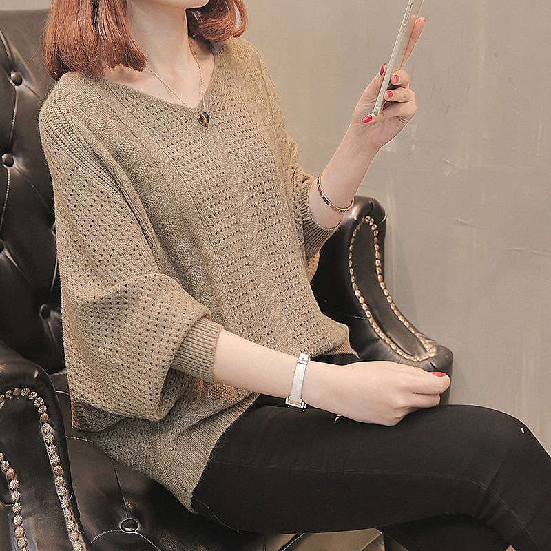 Camisa de ala de murciélago, Tops de lana de Jersey holgados, suéter con manga linterna ahuecado de estilo coreano, Tops de mujer