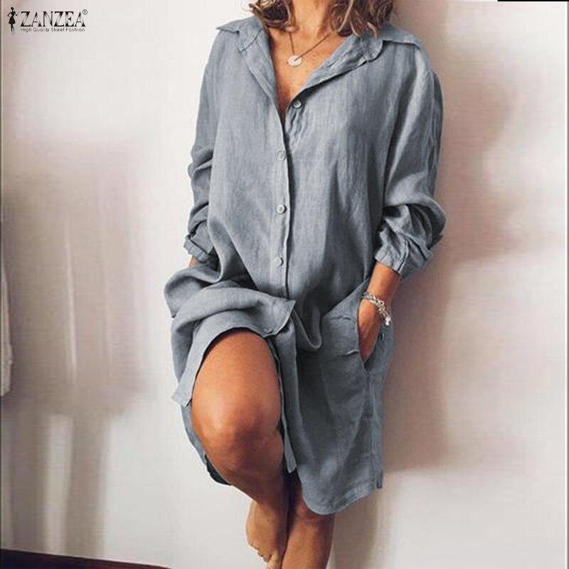 ZANZEA-Vestido camisero elegante para mujer, de otoño 2020, con cuello de solapa y manga larga, Vestido femenino de lino y algodón liso, Vestido de mujer para el trabajo OL