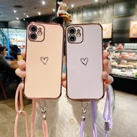 fashion crossbody strap lanyard electroplated love heart phone case for iphone 11 12 pro xs max mini xr x 8 7 plus se soft cover