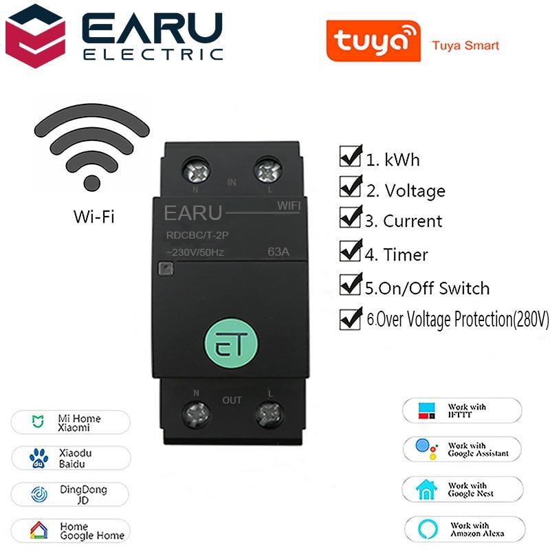 TUYA APP 2P Smart WIFI Circuit Breaker Spannung Energie Power kWh Meter Zeit Timer Relais Schalter Voltmeter Amperemeter Remote control