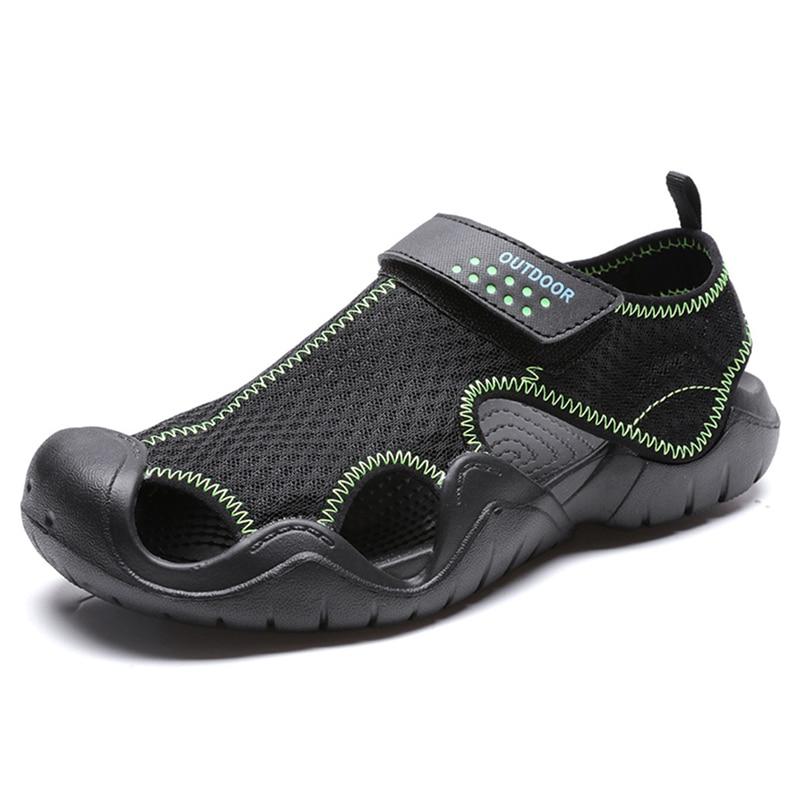 Anti Collision Outdoor Sandals Men Summer Breathable Shoes Antiskid Wrap Toe Beach Sandals Male Aqua