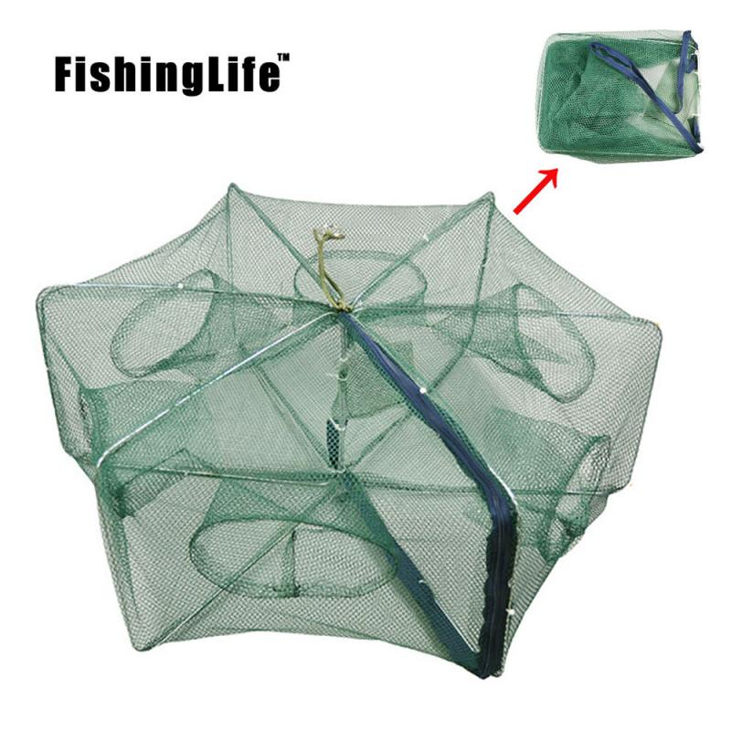FishingLife 6/8/12/16Holes Folded Portable Hexagon Fishing Net Crayfish Fish Automatic Trap Shrimp Carp Catcher Cages Mesh Nets8