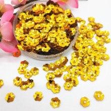 50 g/lot 6mm fleur PVC tasse paillettes avec 1 trou central fleur de prunier fleurs en or foncé Paillette en vrac pour lartisanat