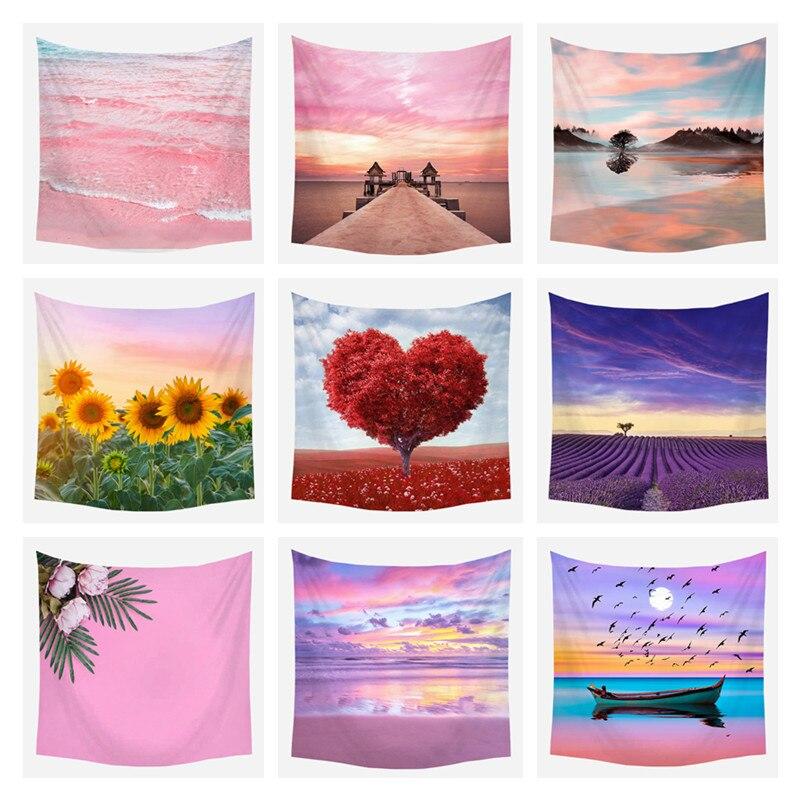 Roze Zee Tapestry Roze Hippie Tapestry Landschap Boho Decor Achtergrond Grote Deken Muur Doek Wandtapijten