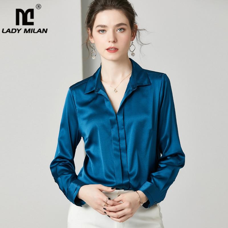 Camisas de pasarela de seda de 100% de Denier pesado de manga larga de cuello vuelto blusa elegante Casual
