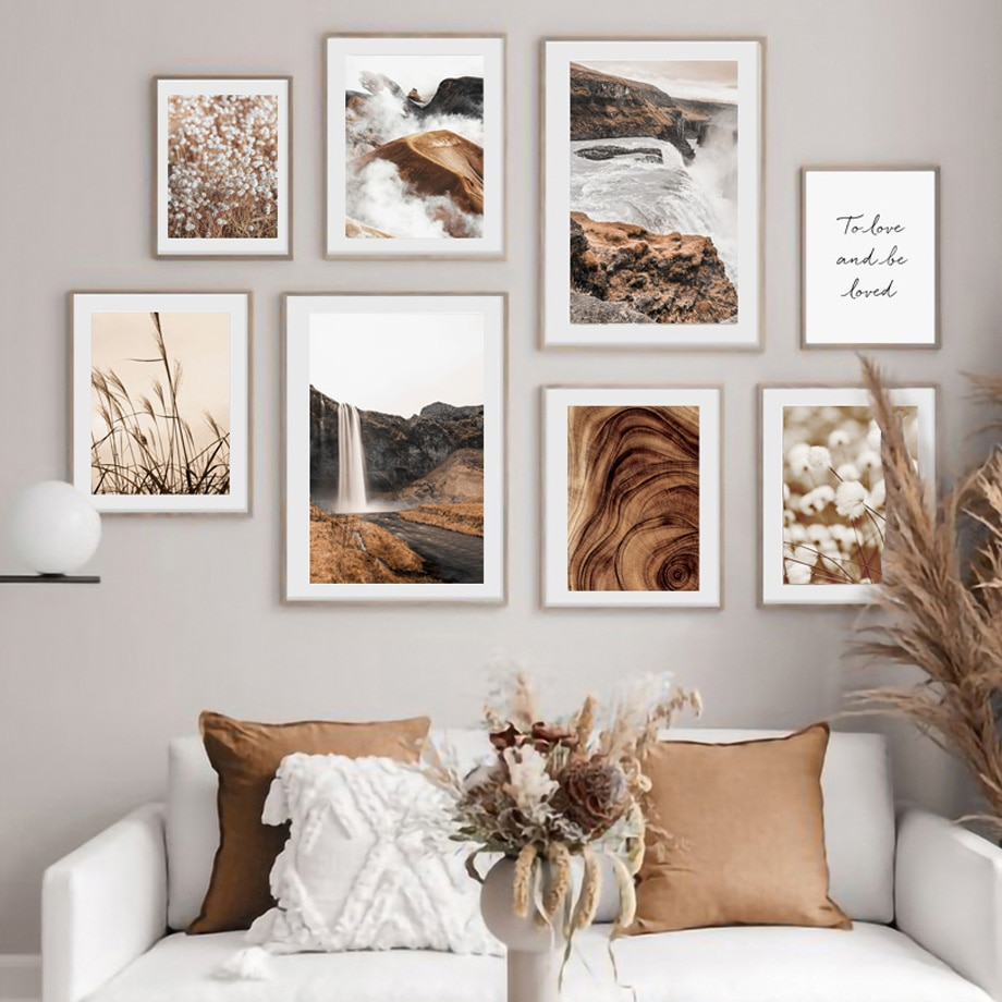 AliExpress - Fog Mountain Waterfall Dandelion Reed Grass Quotes Wall Art Print Canvas Painting Nordic Poster Decor Pictures For Living Room
