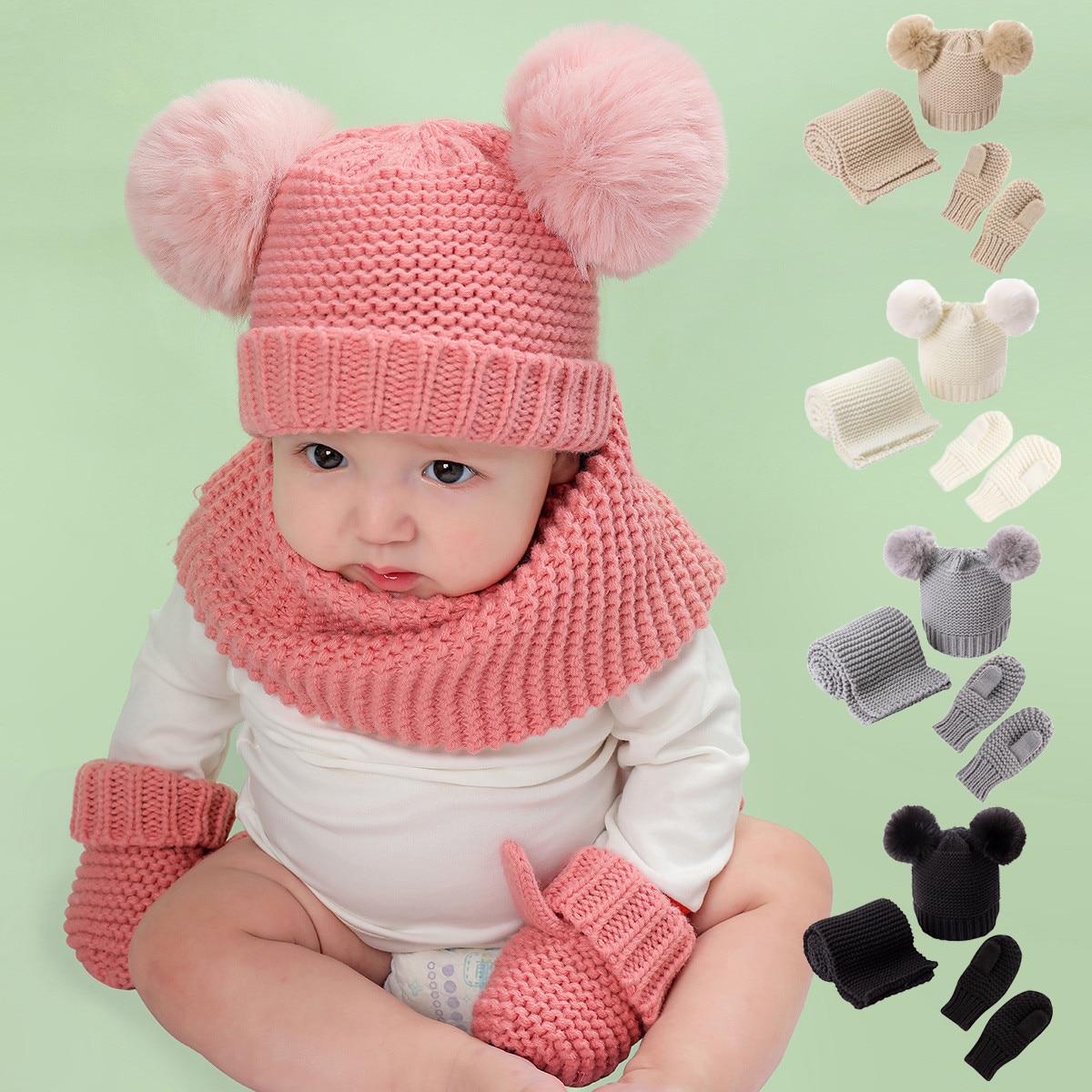Baby beanie Children's Winter Warm Set Winter Children's Mittens Baby Beanie Set Warm Hat Gloves Scarf Three-piece Set шапка 6* шапка rvca dayshift beanie ii розовый 4327