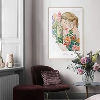colour abstract characters printing nordic poster flower girl wall art canvas painting wall decor livingroom homedecoration
