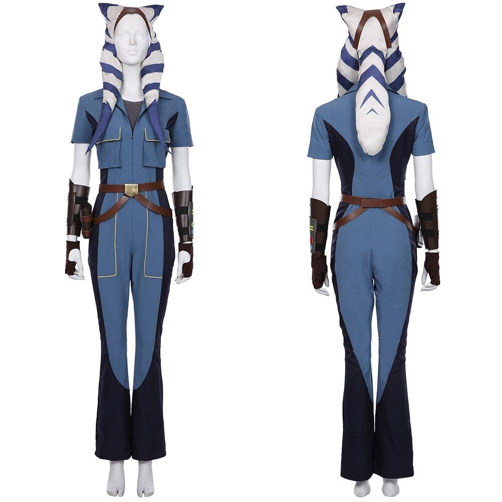 Disfraz de Star Wars The Clone Wars temporada 7-Ahsoka Tano, traje de Cosplay, uniforme, disfraz de Halloween y Carnaval para mujer