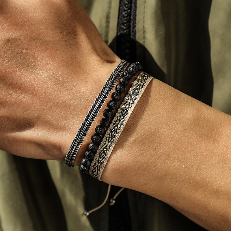 Тибетский-счастливая-веревка-браслет-набор-серебряных-Цвет-перо-Браслеты-Натуральный-Черный-вулканический-камень-бисер-для-украшения-дл
