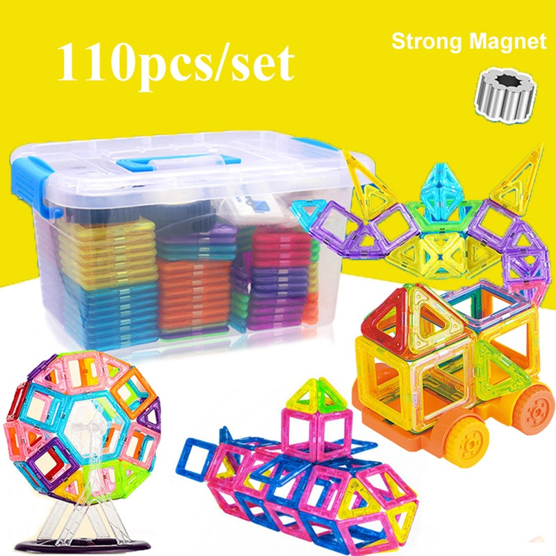 110pcs Magnetic Building Blocks Model & Building Construction Toys Magnetic Designer Educational Toy