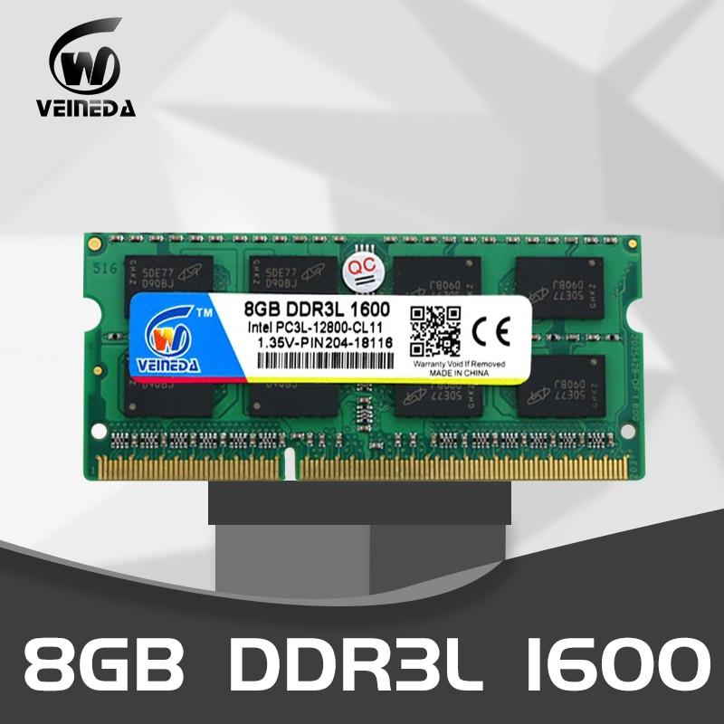VEINEDA 8 gb ddr3l ordenador portátil DDR3L DDR3 4GB 1600MHz PC3-12800 1,35 V SO-DIMM Non-ECC