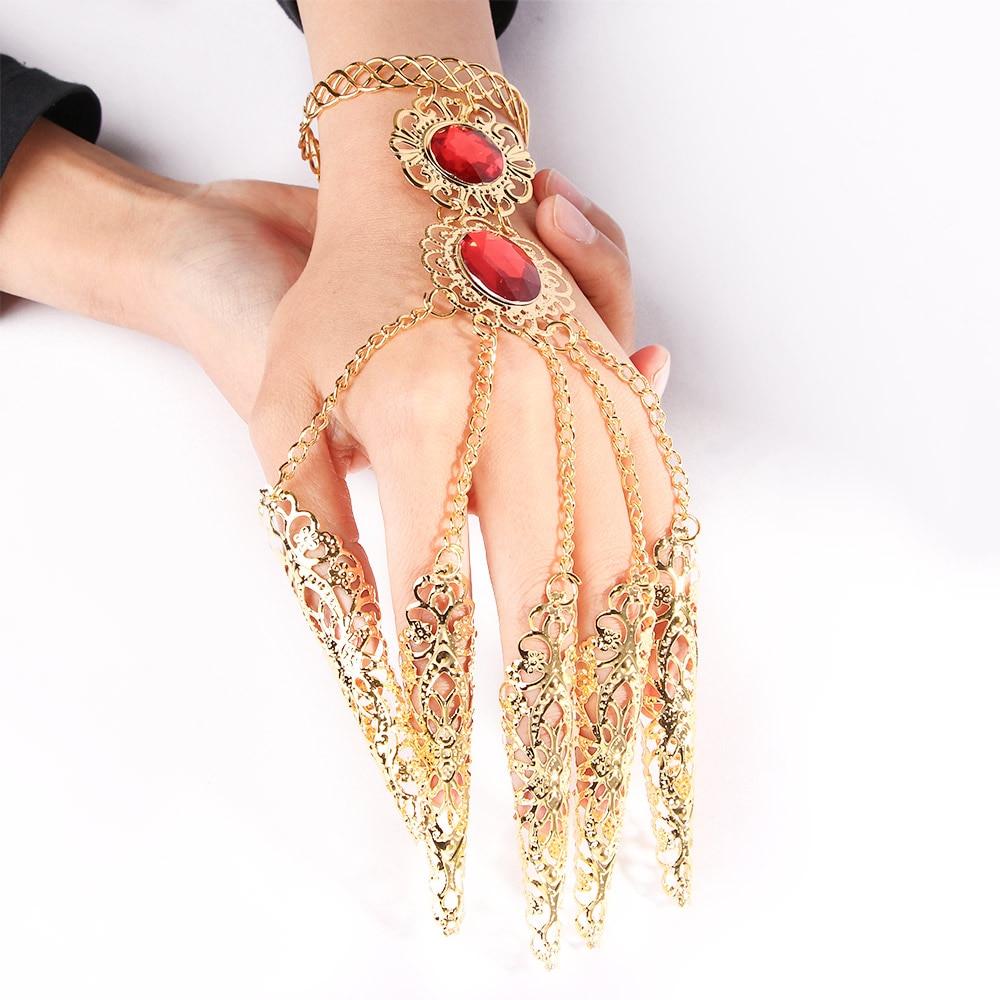 AliExpress - Fashion Indian Thai Golden Finger Bracelet Shining Red Crystal Girl's Belly Dance Bracelet Jewelry