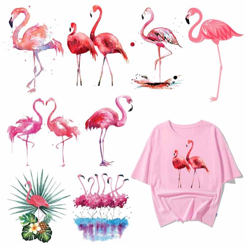 Железные милые нашивки с фламинго для девочек, одежда DIY, футболка, аппликация, теплопередача, виниловые наклейки на одежду, термопресс H