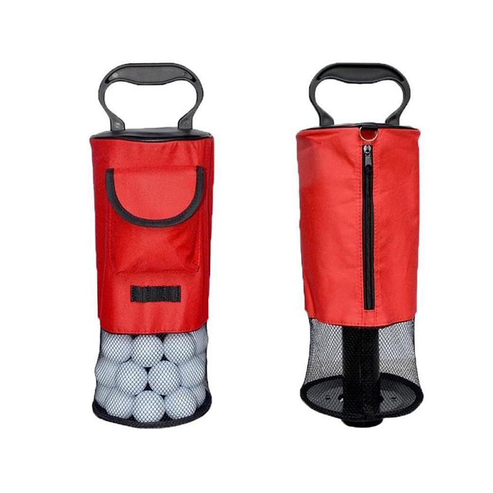 Golf Ball Retriever Portable Pocket Shagger Storage Pick up Pick-up Shag Bag with Free Golf Ball Wipe Towel Pack Set Nylon