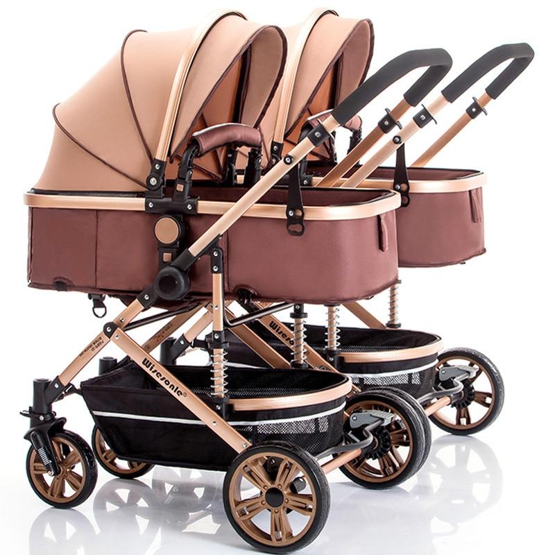Фото - Съемная двойная детская коляска, сидящая, наклонная, складная коляска, коляска с высоким ландшафтом, четырехколесная детская коляска, детск... коляска