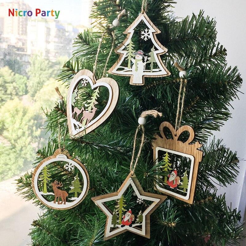 Decoraciones de colgantes Nicro de madera huecas creativas para Navidad, adornos temáticos de Navidad, artesanías de madera, suministros de decoración DIY # Chr80