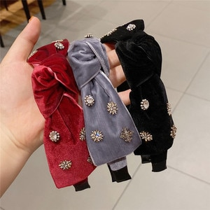 Baroque Velvet Headbands For Women Girl Knot Zircon Rhinestone Korean Hair Accessories Hairbands Wholesale Vintage Retro