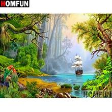 HOMFUN-broderie diamant complète bricolage   5D, peinture au point de croix, paysage de bateau