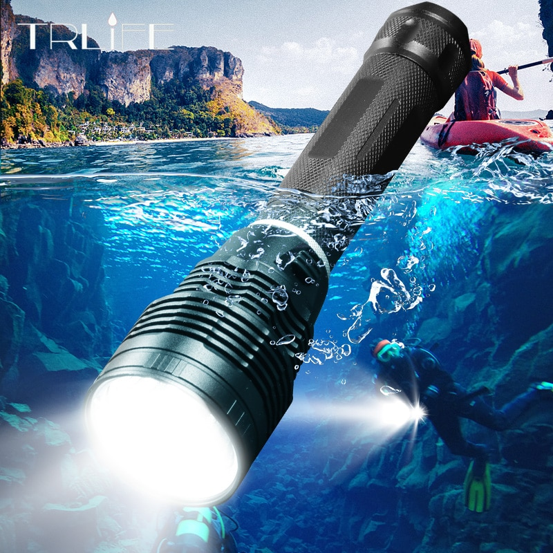 المهنية XHP70.2 مصباح غوص IPX8 مقاوم للماء الغوص مصباح يدوي تحت الماء 300 متر الشعلة مصباح الفانوس الطاقة بنسبة 26650