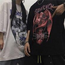 Trend hip hop dark retro print loose all round collar Short Sleeve T-Shirt Top Unisex trend