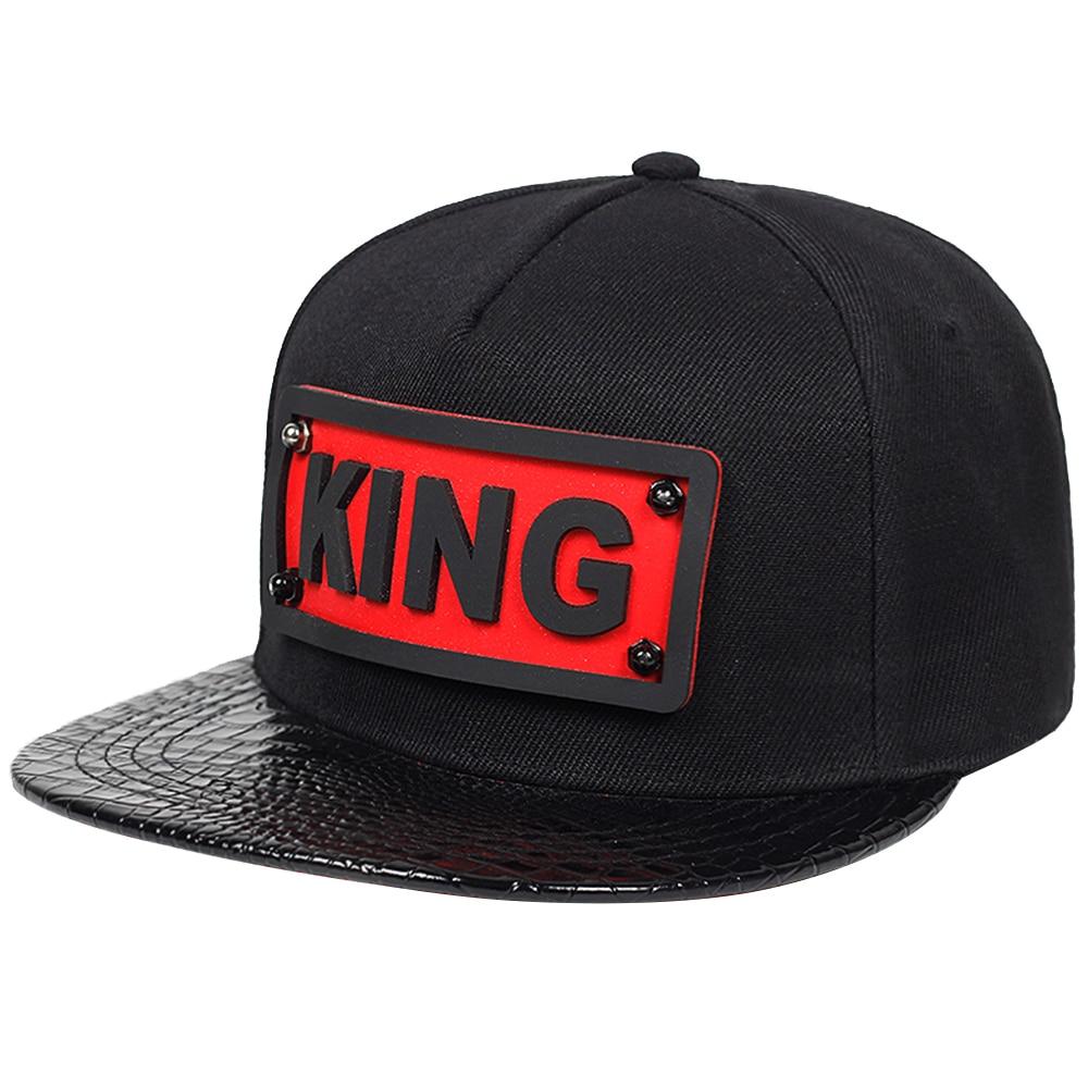 New Summer men's baseball cap fashion KING PU leather caps outdoor women sun hat hip-hop caps cotton snapback hats gorras