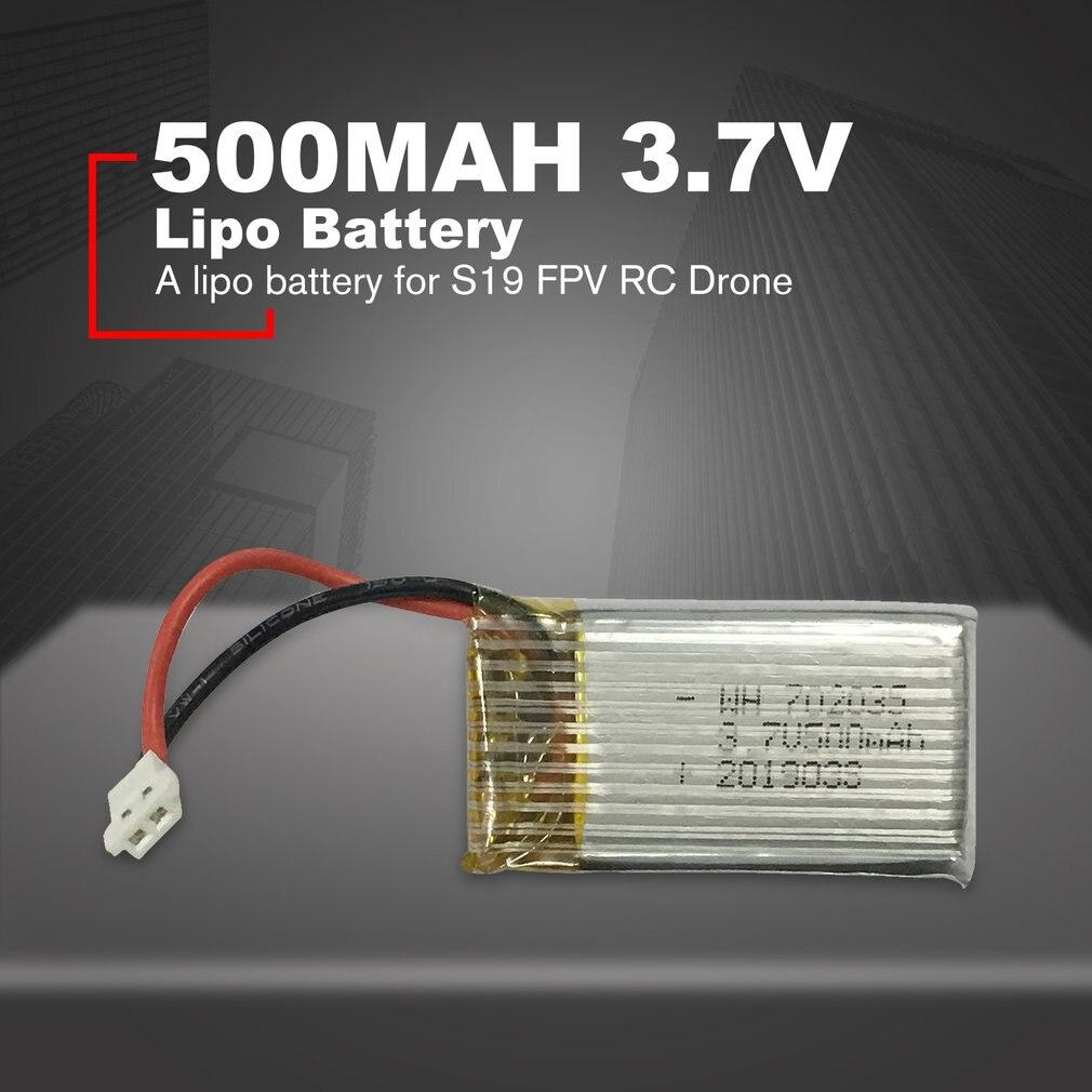 Batería Lipo de 3,7 V y 500mah, batería recargable de reemplazo para S19 FPV, piezas de recambio de drones, accesorios RC
