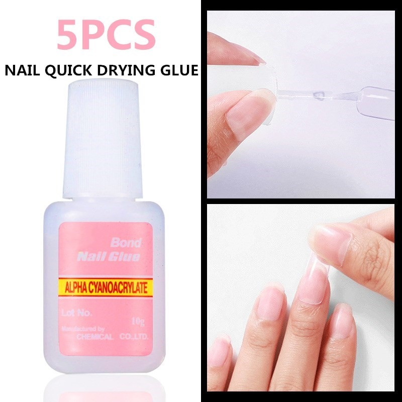 5Pcs/lot 10g False Glue Nail Art Tips Glitter Acrylic Decoration With Brush False Nail Gel Glue Nail Clean Acrylic hot 5pcs set 10g false nail tips glue nail art decoration with brush false nail glue for nail stickers and decals manicure tools