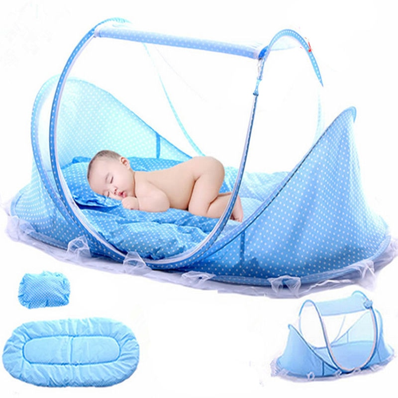 Baby Bedding Crib Netting Folding Baby Mosquito Nets Bed Mattress Pillow Three-piece Suit For 0-3 Years Old Children