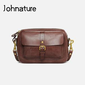 Johnature Retro Genuine Leather Small Women Shoulder Bag 2021 New Nature Soft Cowhide Leisure Versatile Female Crossbody Bags