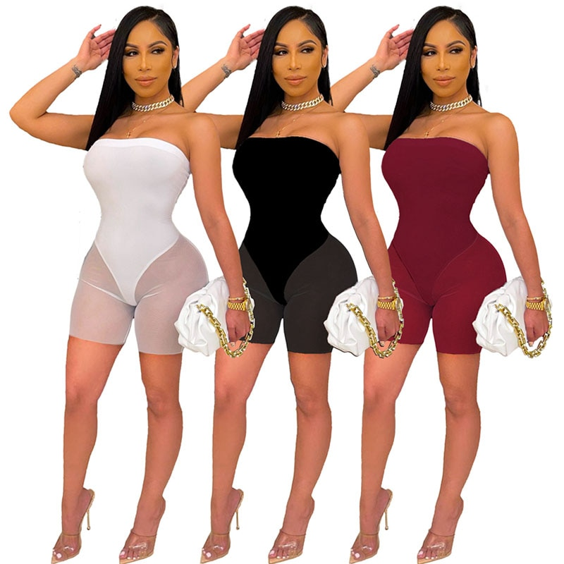 2021 Summer Solid Off The Shoulder Strapless Playsuits Mesh Patchwork Summer Sleeveless One Piece Ov