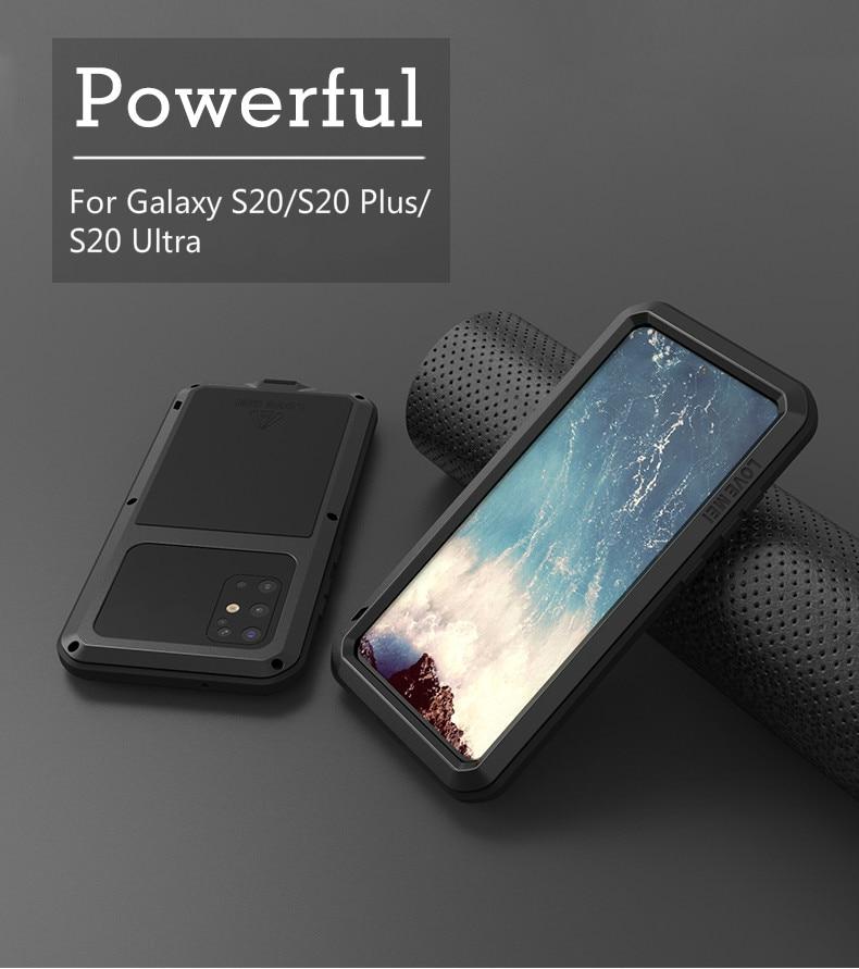 Amor MEI potente caso para Samsung Galaxy S20 Ultra armadura de Metal Shock la suciedad prueba agua casos de teléfono para Galaxy S20 más S20 + S20