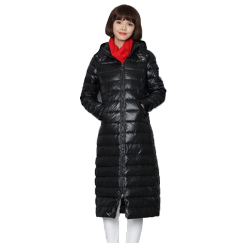 Новинка, зимние женские толстовки, пуховое пальто, модное женское длинное пальто, женские пуховые парки, 90% пуховые пальто на белом утином пу...