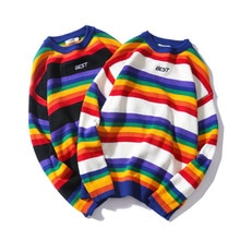 Brief Drucken Strickwaren Pullover Männer Farbe Block Regenbogen Gestreiften Pullover Harajuku Retro Paar Casual Streetwear