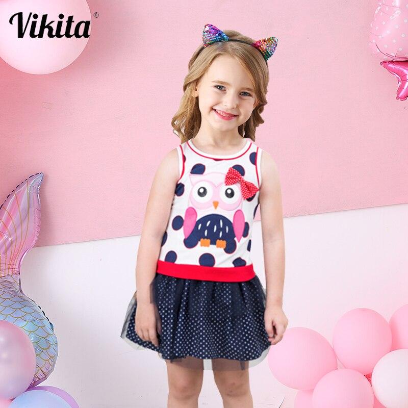 Marca VIKITA, vestidos de tul para niñas, vestido de dibujos animados para niñas, vestidos de princesa con tutú, ropa de verano para niñas