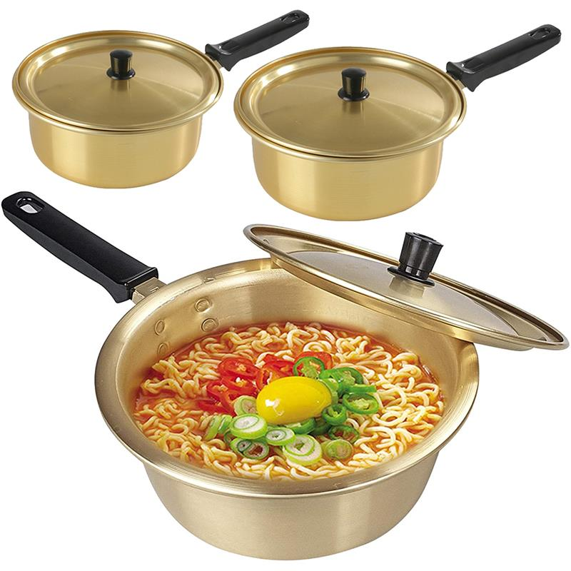 Korean Cooking Pot Noodle Pot Ramen Golden Pot Aluminum Egg Soup Pot Cooking Pots With Lid Noodles Milk Fast Kitchen Cookware