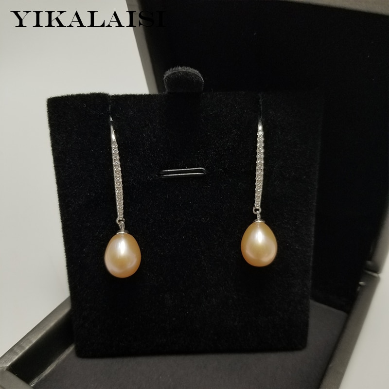 YIKALAISI 925 Sterling Silver Jewelry Pearl Earrings 2019 Fine Natural jewelry 8-9mm For Women wholesale