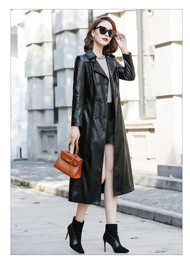 Leather Jacket Real Full New Arrival Jaqueta De Couro 2020 Autumn Pu Clothing Girls Long Paragraph Slim Coat Large Size Women enlarge