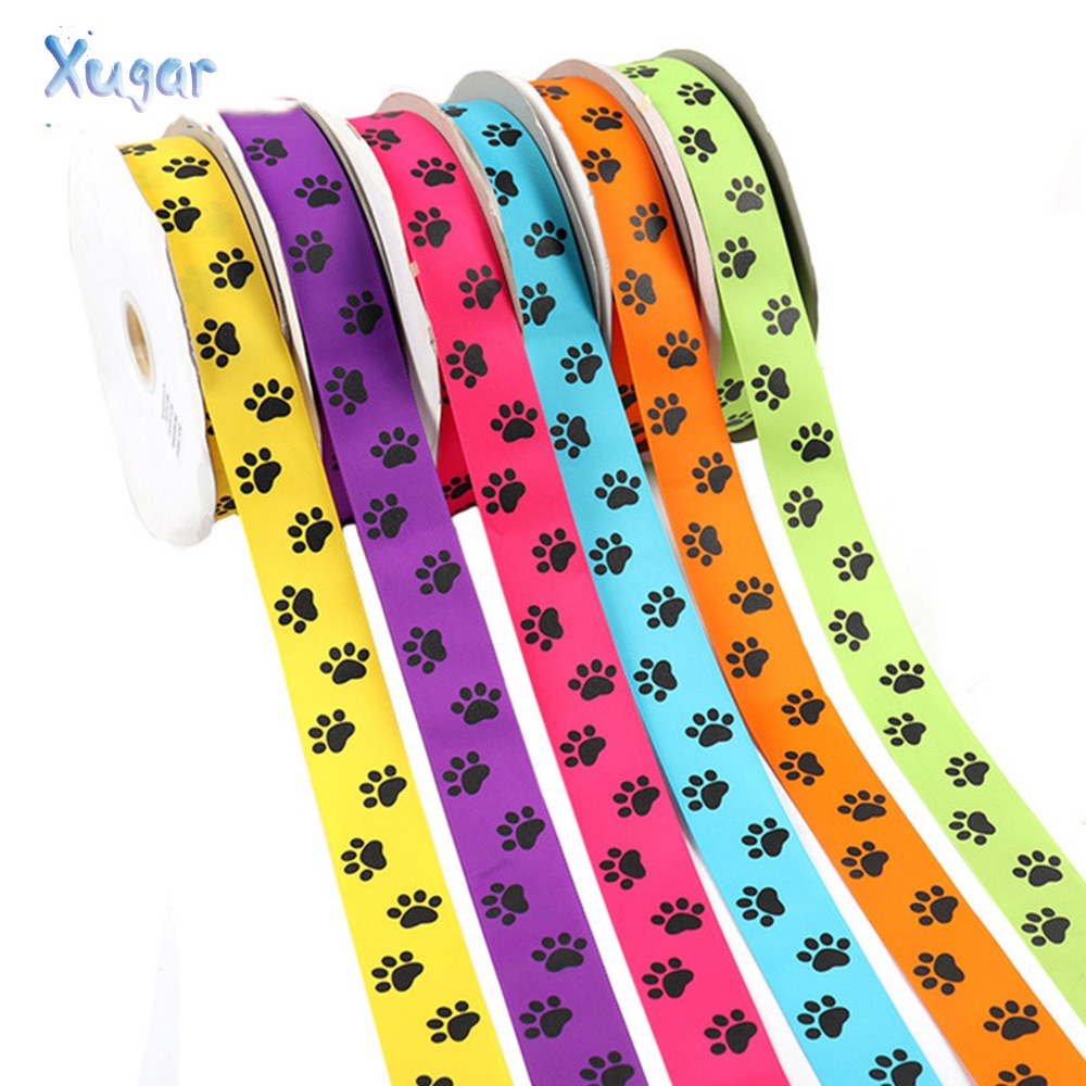 Xugar 2Yards/lot 38mm Grosgrain Ribbon Cute Dog Printed Hair Bow Garment Accessories DIY Handmade Materials Gift Wrapping New