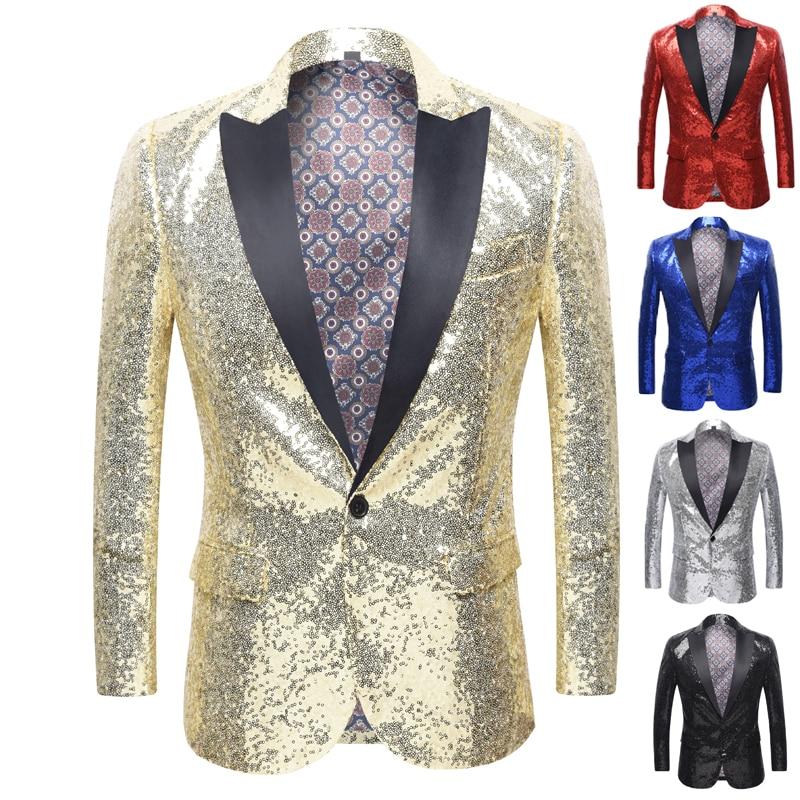 Shiny Gold Sequin Glitter Embellished Blazer Jacket Men Nightclub Prom Suit Blazer Men Costume Homme Stage Clothes For singers shiny gold sequin glitter embellished blazer jacket men nightclub prom suit blazer men costume homme stage clothes for singers