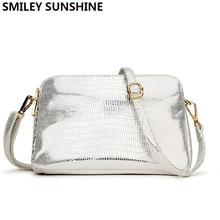 2020 Silver Women Messenger Bag High Quality PU Leather Small Handbag Women Crossbody Bags Clutch Ladies Handbags and Purses Sac