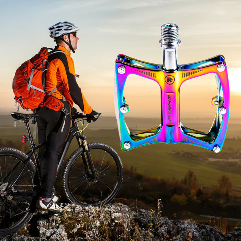 Pedais de bicicleta de estrada de montanha mtb pedais de alumínio anti-deslizamento cor plataforma
