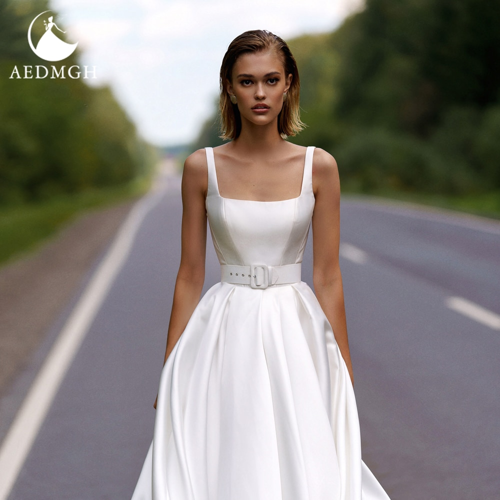 Promo Aedmgh A-Line Satin Wedding Dresses 2021 Scalloped Spaghetti Straps Sleeveless Vestido De Novia Chic Sashes Robe De Marige
