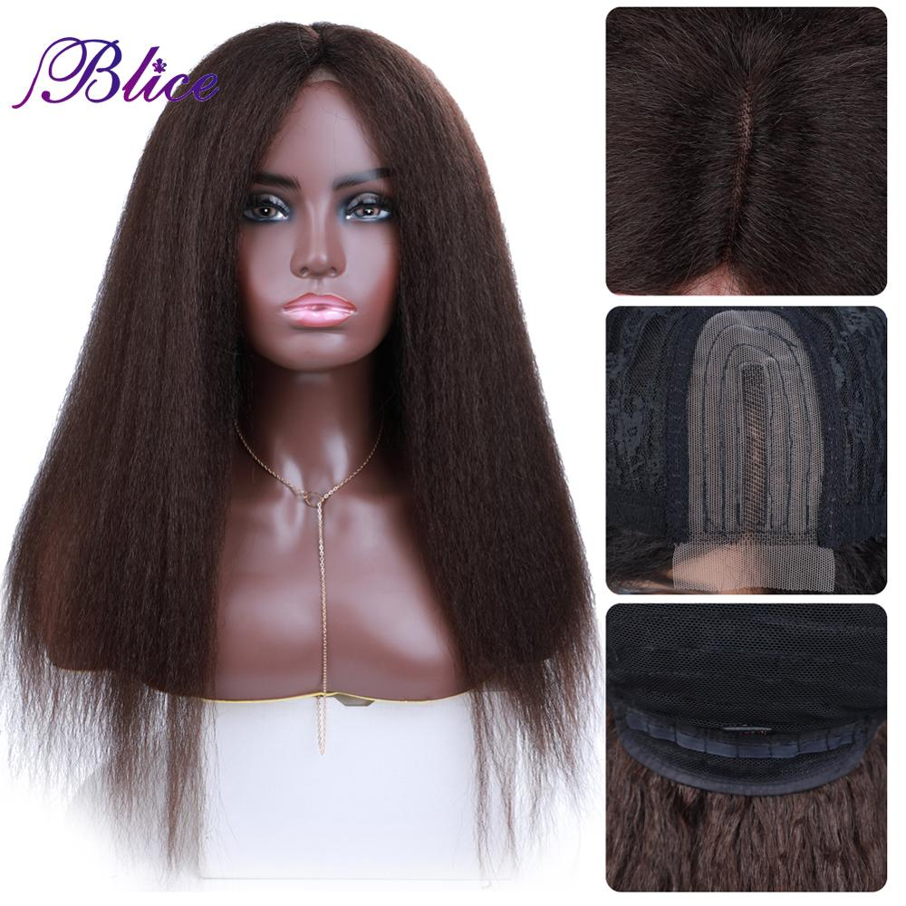 Blice 2x4 Fringe Lace Part Wig Synthetic Hair Extensions Yaki Straight Heat Resistant Closure Wigs 20 Inch For Women