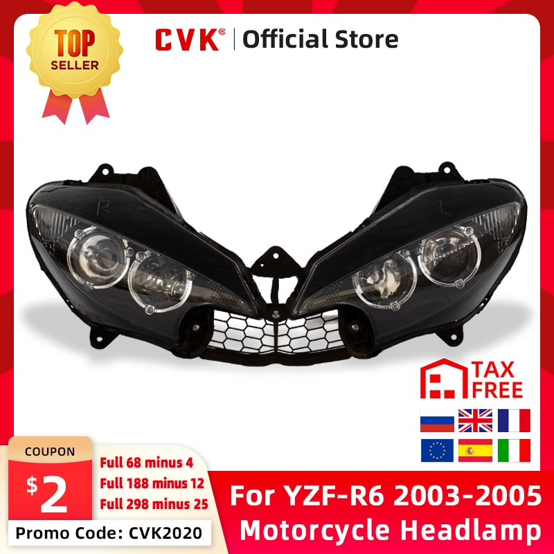 arashi 1pair yzf r6 2003 2004 cnc front brake discs brake rotors for yamaha r6 600 2003 2004 xj6 fz6 faser s2 diversion mt 03 09 CVK Motorcycle Headlight Headlamp Head Light For YAMAHA YZF 600 R6 2003 2004 2005 YZF-R6 03 04 05 Head Lamp Headlight assembly